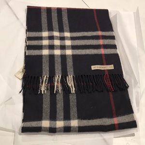 Burberry cashmere plaid scarf, navy, red, white,